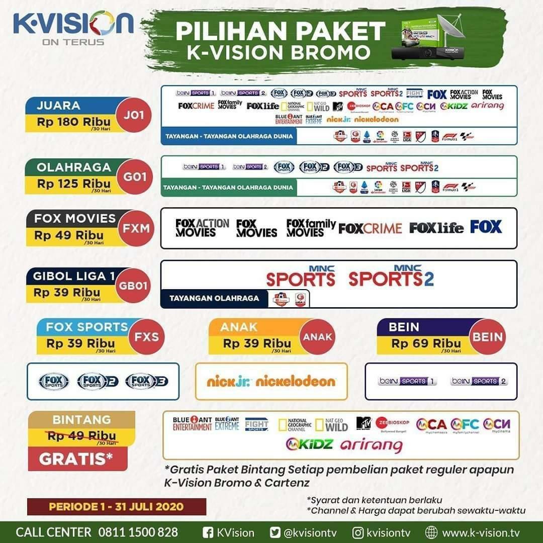 PAY TV K-Vision - Paket Olahraga 1Bln